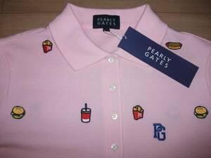 カタログ掲載商品♪PEARLYGATESパーリーゲイツ☆ハンバーガー柄半袖ポロシャツサイズ1ピンク色