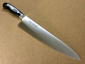 関の刃物 牛刀 27cm (270mm) PRO-M モリブデンスチール 1K-6 鍔付一体型包丁 家庭用の洋包丁 肉 魚 野菜切り パン切り 両刃万能包丁 日本製