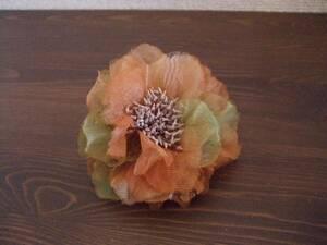 オレンジ×グリーン花コサージュ、バレッタ(USED)110714Z