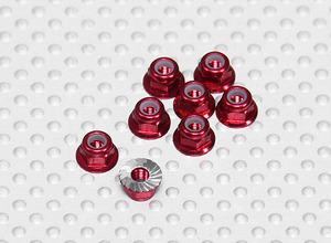 AquaPC★Aluminum M3 Nylock Wheel Nuts/ Flange (8pcs) Red★