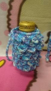 ★手編み ★手作り ペットボトル カバー ミニ ブルー ハンドメイド ギフト ヨガ スポーツ 会社に ペットボトル入れ ホットにも お茶