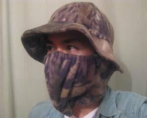 温かい 日本未発売 DueNorthフリース迷彩ハット&マスク 着脱可能 カモフラージュ サバゲー