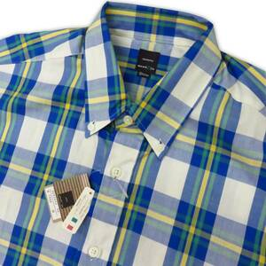 ■3新品展示品 レナウンネクストアイ 半袖ボタンダウンシャツ 青黄白 マドラス 綿100% Mサイズ チェック 格子 エンスウィート コットン100%