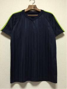 [即決古着]スポーツウエア/トレーニングウエア/Tシャツ/半袖/ラグラン/メッシュ/速乾/濃紺色×黄緑/L