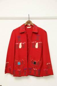 ★メキシコ産ヴィンテージ刺繍ウールジャケット  古着中南米40S30SナバホUSAアメリカML羊メンズレディース赤レッドワッペン一点物