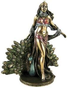 ギリシャ神話の女神像 ヘーラー ブロンズ彫刻神像置物女性像ヘラヘラとピーコック(孔雀)古代ギリシャ