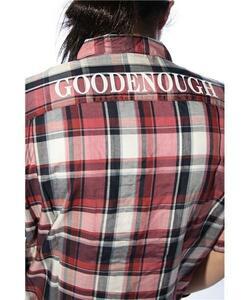 GOODENOUGH グッドイナフ 背ロゴ チェックシャツ L プラム