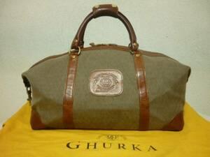 GHURKA グルカ  STASH NO96  CAVALIER I  ダッフルバッグ  USA製  保存袋付き  コットン×レザー ボストンバッグ