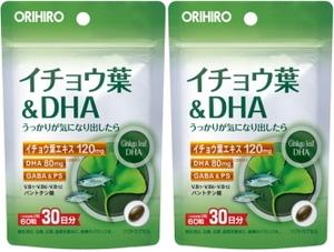 【送料無料】イチョウ葉&DHA 60粒(30日分)×2個セット オリヒロ●