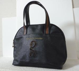良品 ロベルタディカメリーノ Roberta di Camerino PVC ブラック ブラウン Rロゴ ハンドバッグ レディース