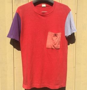 80s FRUIT OF THE LOOM ポケットTシャツ クレイジーパターン S コットン100% USA製 ビンテージ