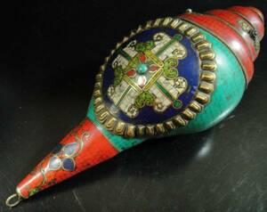 ◆チベット密教法具 法螺貝(シャンカ)羯磨(カツマ) M2