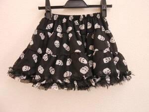 レディース パンク ドクロ スカル ティアード ミニスカート  #2サイズ ブラック