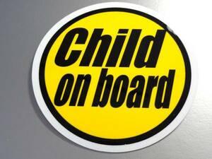 BC*Child on board стикер B 10cm размер *KIDS ребенок .... - _ машина * in CAR простой дизайн желтый цвет круглый