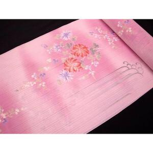 120 東レシルジェリー紗 反物 薄ピンク 花と滝