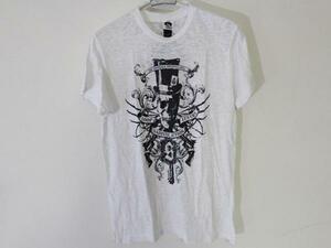 サディスティックアクション SADISTIC ACTION メンズバーンアウト半袖Tシャツ ホワイト Sサイズ 新品