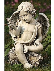 鳩と天使(ケルビム)ガーデン彫刻 彫像/ 智天使 教会 (輸入品) 旧約聖書 ガーデニング 造園 園芸 ベランダ 観葉植物 芝生 庭園 広場 芝生