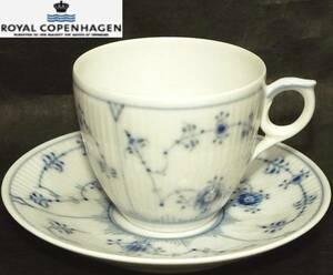 Royal Copenhagenブルーフルーテッド プレイン コーヒーカップ&ソーサー1101071 ポーセリン Blue Fluted Plain美品ロイヤルコペンハーゲン