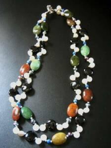 池蝶貝綺麗な淡水パール真珠と天然石の2連ネックレス 新品