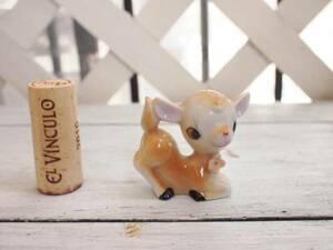 ビンテージ雑貨*可愛いバンビの陶器置物☆インテリア人形ドール