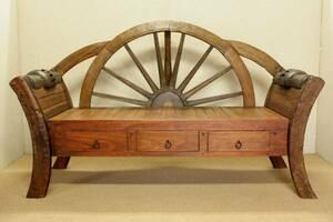 『癒し』アンティーク*チーク古木自然杢*オールドチーク*古い木*ナチュラルテイスト*大きな椅子*二人掛け*珍しい*貴重☆車輪横長ベンチ
