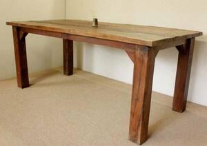 『癒し』アンティーク*チーク古木自然杢*オールドチーク*ダイニングテーブル*大きな机*店舗テーブル*珍品*☆無垢*テーブル/1m80㎝