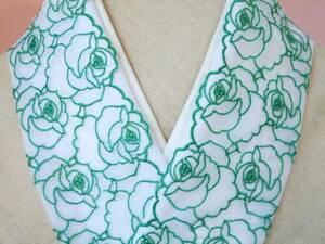 8 【さくら】エレガントなエメラルドの薔薇レース♪やわらかい絹交織