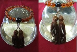お盆お彼岸セール 再生琥珀 茶水晶正絹仕立 念珠 数珠