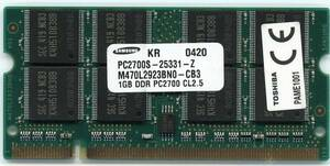 Toshiba original PAME1001 PC2700 200Pin DDR1 1GB used prompt decision affinity guarantee