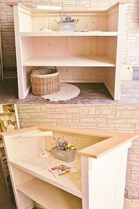 【Kー106】木製カウンター*H98*W135*D63cm*店舗什器*美容室・サロン受付カウンター*キッチンカウンター