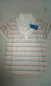 送料無料【Munsingwear◆マンシングウェア】半袖カラフルボーダーシャツ★Mサイズ ◆ゴルフ/UV80/FINE DRY