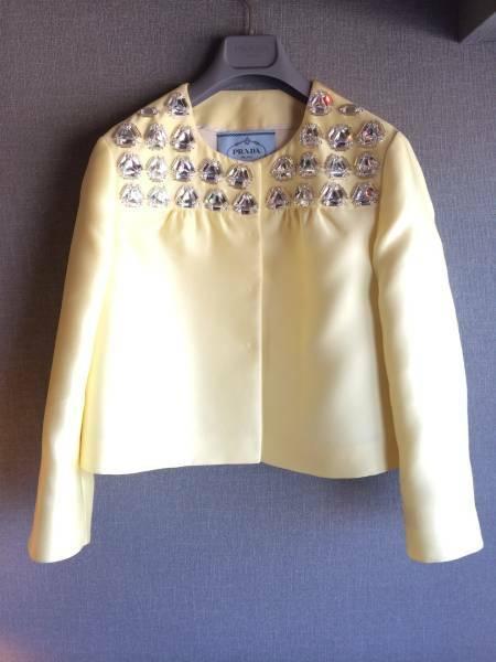 新品 プラダ 最高級 ビジュー 装飾 シルク ジャケット 40 PRADA 豪華