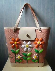 ● 稀少!超レアなカラー 完璧に近い美品 エニッド コリンズ ENID COLLINS 全面お花モチーフ ハンドバッグ ●