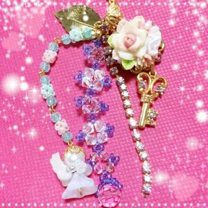 ハンドメイド★ストラップ★樹脂粘土/天使/薔薇/ブーケ/鍵