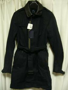 新品 ナノユニバース 襟着脱 デザイン ステンカラーコート 36 紺