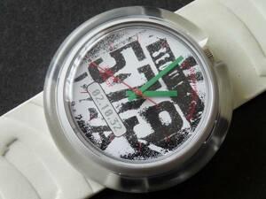 未使用電池交換済 スウォッチ Swatch POP ポップ 白 PMZ104