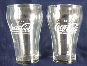 コカ★コーラ Coca Cola ★クビレ透明グラス★2個セット