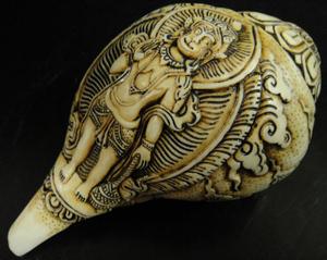 ◆チベット密教法具 法螺貝(シャンカ)・ハヌマーン 1