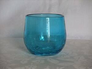 ☆☆新品★琉球ガラス焼ヒビ装飾★たる型グラス・水色☆