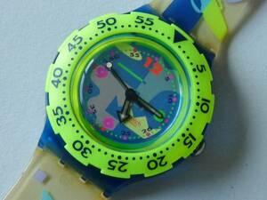 未使用稼働中 スウォッチ Swatch 初期スクーバ 黄/青 SDK100