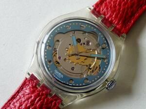 未使用 92年オートマチック 赤/透明 SAK101 スウォッチ Swatch