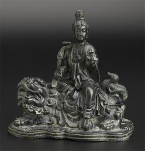 清 銅雕騎獅観音像 仏像 中国 古美術