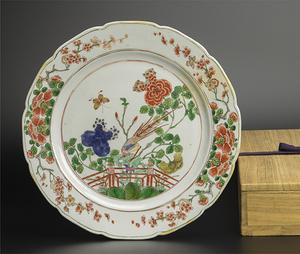 清 五彩花鳥紋盤 附木箱 中国 古美術