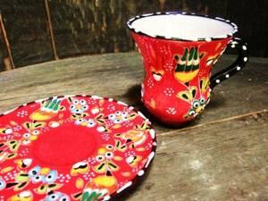 [Состояние Бесплатная доставка] ☆ Новый ☆ Турция Керамика рисованной Chai Glass & Sucer Set! / 01