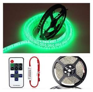 リモコン付き! LEDテープ 5m600連 グリーン(緑) 12V防水 電波式 白ベース 正面発光 車 バイク 原付 アクアリウム などのアクセサリー