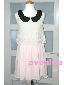 花柄 コットンレース&ふんわりスカート ワンピース Mサイズ ホワイト×ピンク 2way フェミニンワンピース