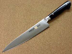 関の刃物 ペティナイフ 15cm (150mm) 伊勢屋治平 8A モリブデン 黒パッカー 口金付き 果物包丁 野菜 果物の皮むき 小型両刃ナイフ 日本製