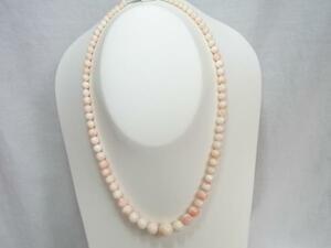 ピンク珊瑚チョカ-.サイズ42cm.球サイズ9.5~3.2mm.GSILVER止め金具.グラデ-ションモデル