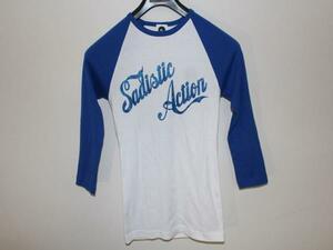 サディスティックアクション Sadistic Action レディースラグラン7分Tシャツ ホワイトxブルー Mサイズ 新品