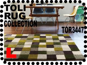 【東リラグTOR3447】140x200レトロな色グリッドラグ【送料無料】